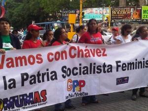 Mulheres venezuelanas em apoio a revolução bolivariana.