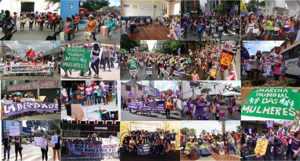 Por todo o Brasil, a MMM saiu às ruas neste #8feminista! Montagem: Isabelle Ferreira.
