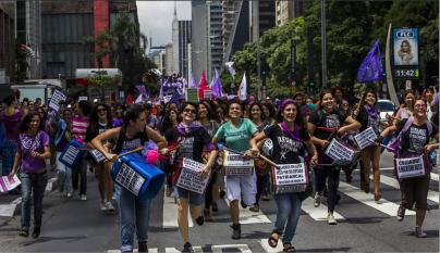 Fuzarca Feminista no Ato Unificado das Mulheres em São Paulo (SP).