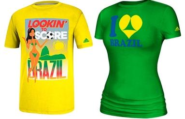 """Camiseta Adidas modelo """"machismo padrão FIFA""""."""